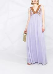 Pinko crochet appliqué long dress