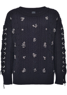 Pinko crystal-embellished cable knit jumper