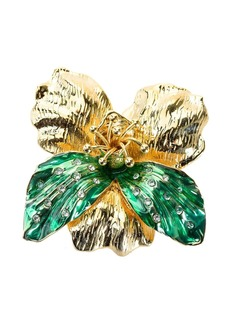 Pinko crystal-embellished flower brooch