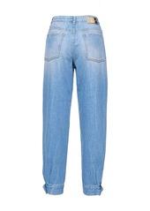 Pinko faux-pearl cuffed jeans