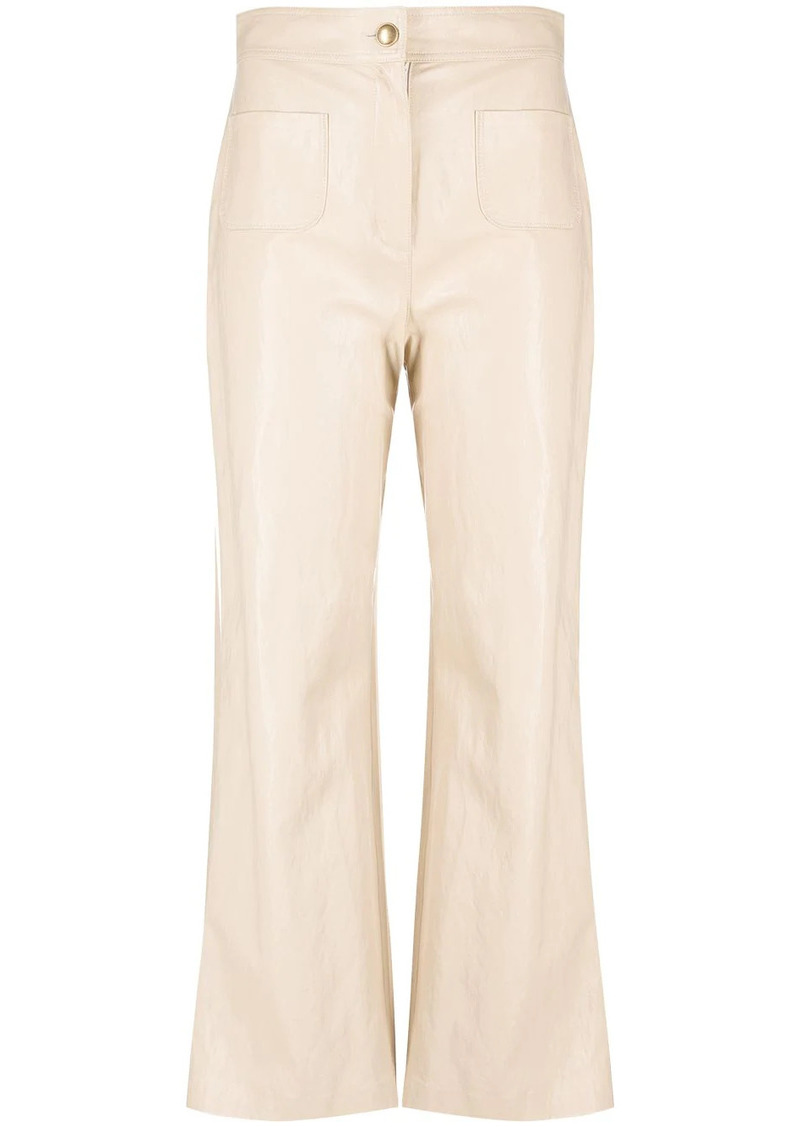 Pinko flared faux-leather trousers