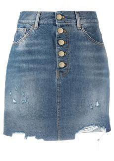 Pinko frayed denim mini skirt