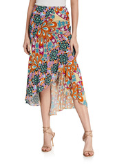 Pinko Gallette Printed High-Low Skirt