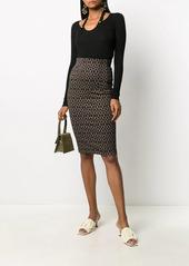 Pinko geometric-print pencil skirt