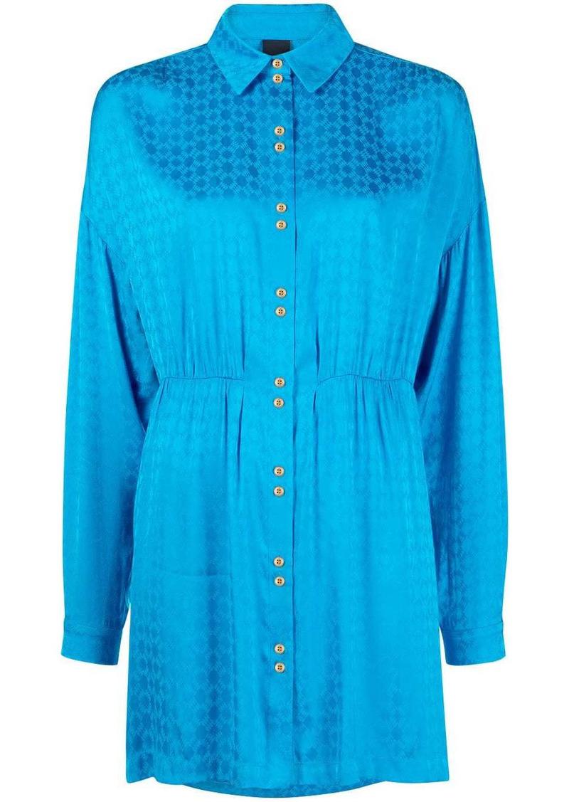Pinko geometric-print satin shirt dress