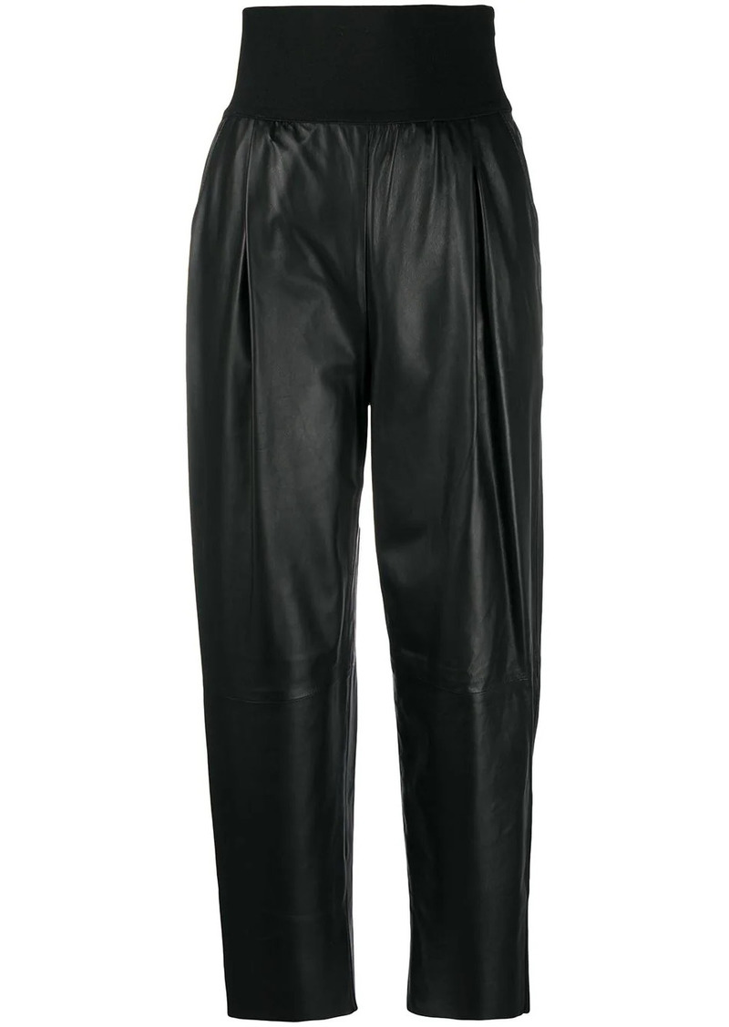 Pinko high-waisted leather trousers
