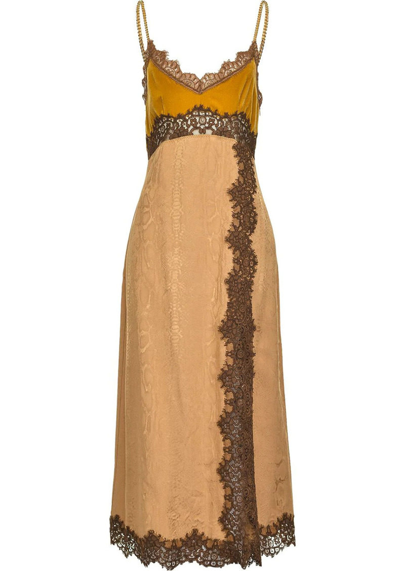 Pinko lace-trimmed evening dress