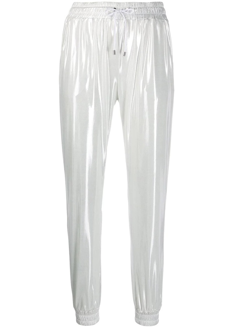 Pinko laminated tapered track trousers