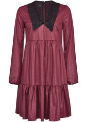 Pinko leather-effect lace-collar dress