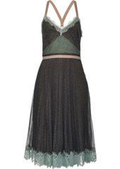 Pinko leopard print lace-trimmed dress