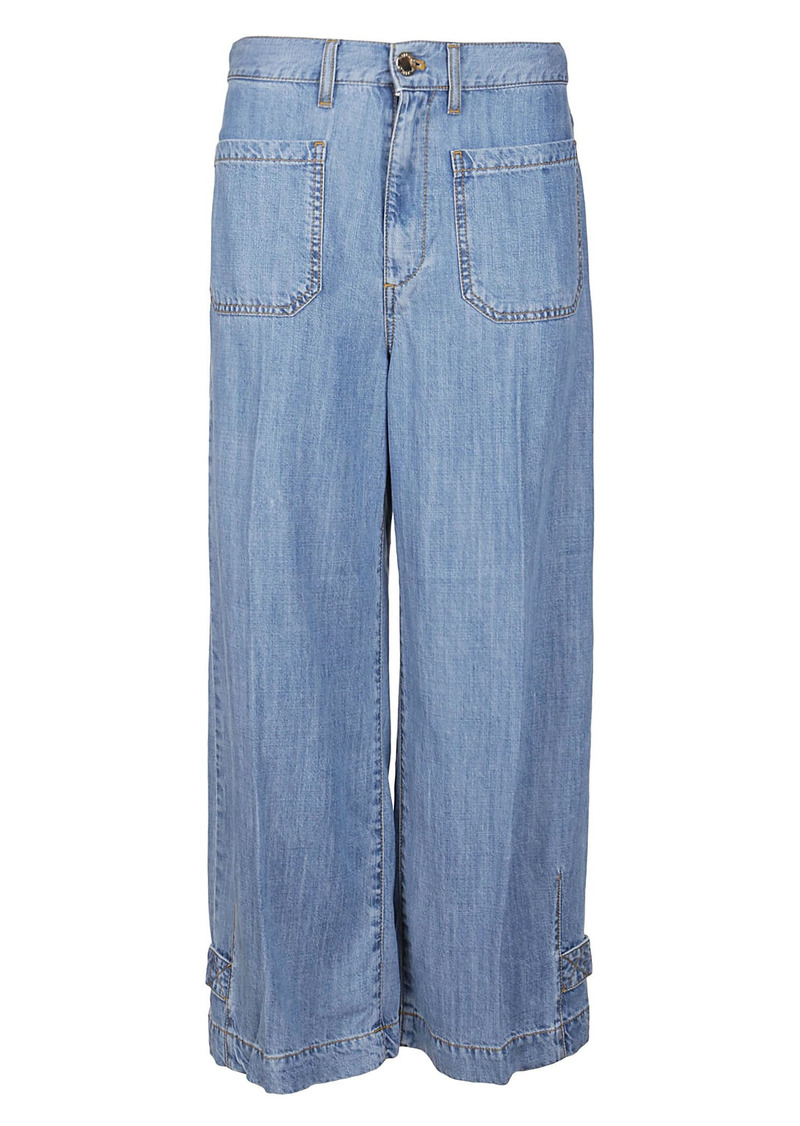 Pinko Light Blue Lyocell Trousers