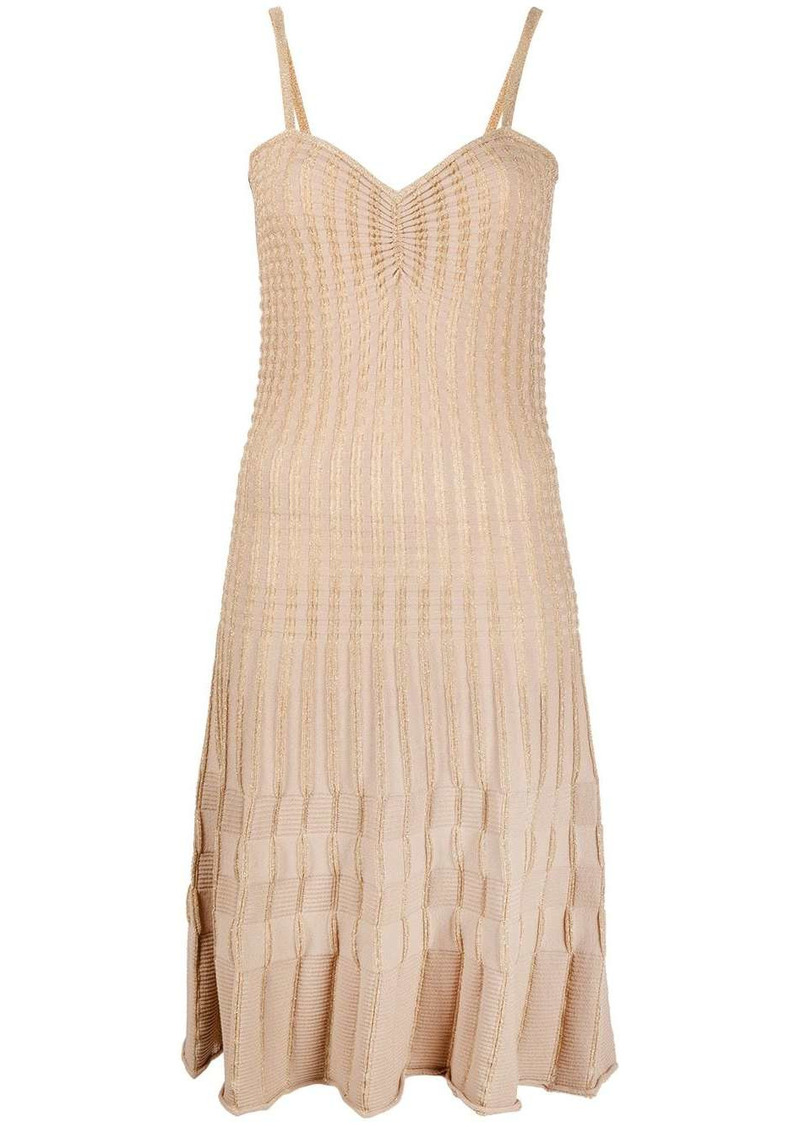 Pinko metallic threading ribbed mini dress