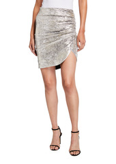 Pinko Mezzogiorno Faux-Wrap Iridescent Chenille Mini Skirt