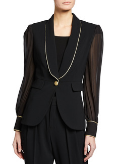 Pinko Nestore Contrast-Piped Jacket