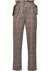 Pinko paperbag-waist check trousers