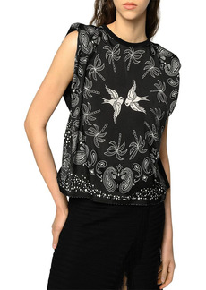 PINKO Acqua Printed Sleeveless Top