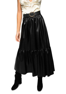 PINKO Asterismo 1 Faux Leather Maxi Skirt
