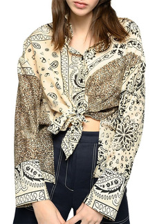 PINKO Fuoco Printed Knotted Blouse