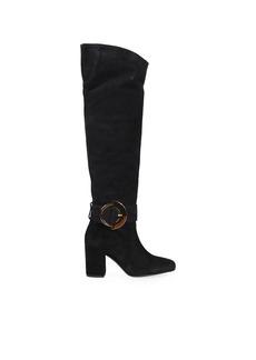 Pinko Laetitia Black Suede High Knee Boot