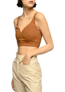 PINKO Regale Linen Blend Cropped Top
