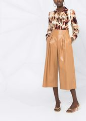 Pinko pleated faux-leather wide-leg trousers
