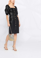 Pinko puff-sleeve faux-leather dress