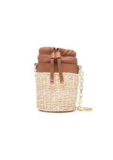 Pinko raffia panel bucket bag