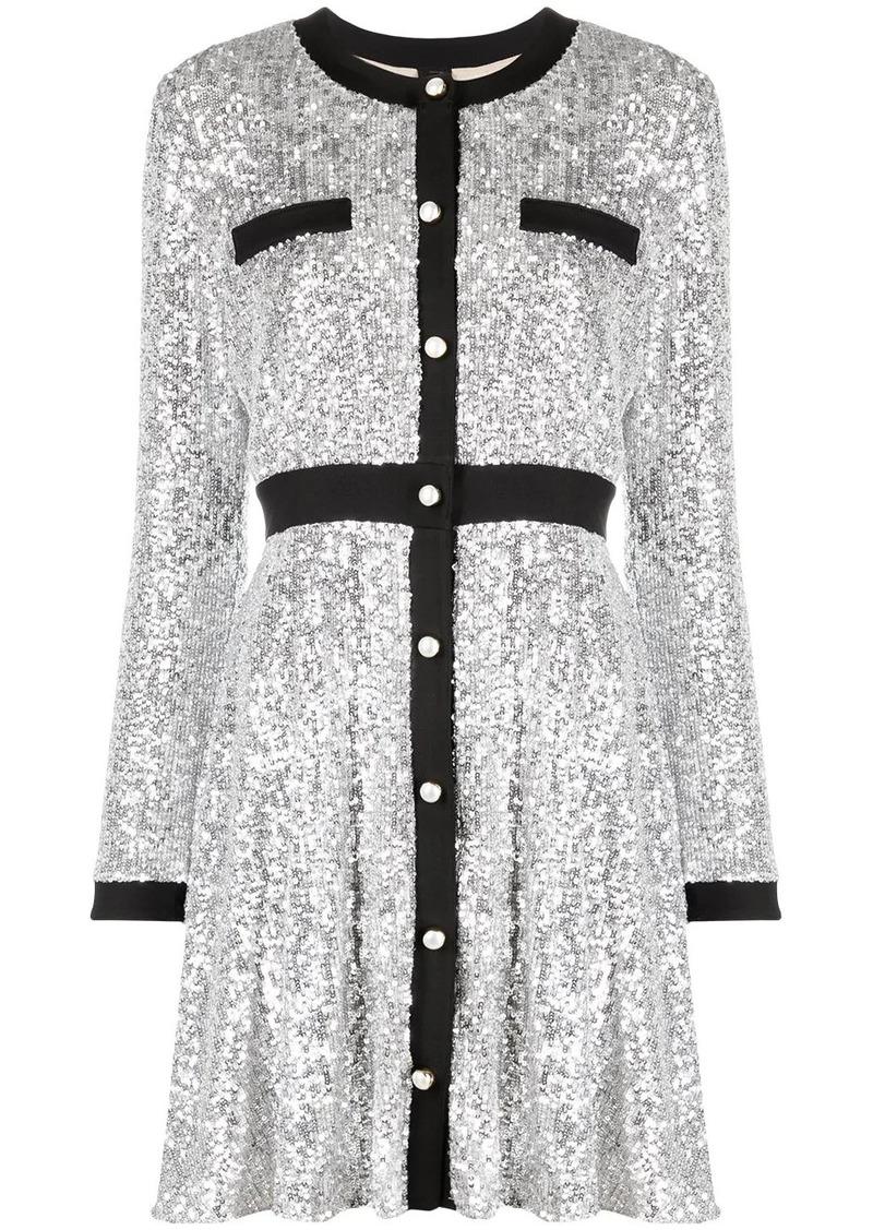 Pinko round-neck sequin short dress
