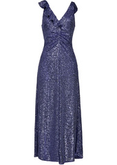 Pinko ruffle-detail sequinned dress