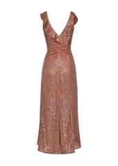 Pinko ruffle-detail sequinned evening dress