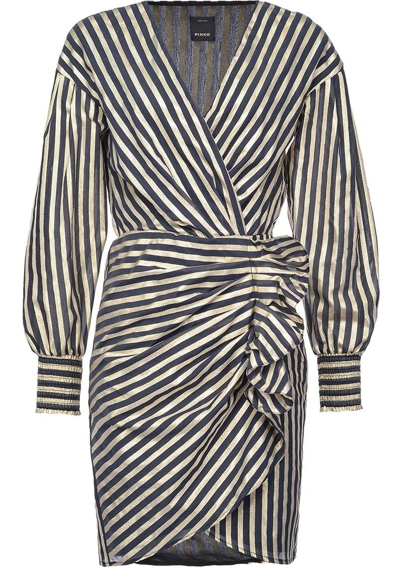 Pinko ruffle-detail striped dress