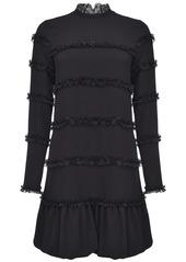 Pinko ruffle-trim mock-neck dress