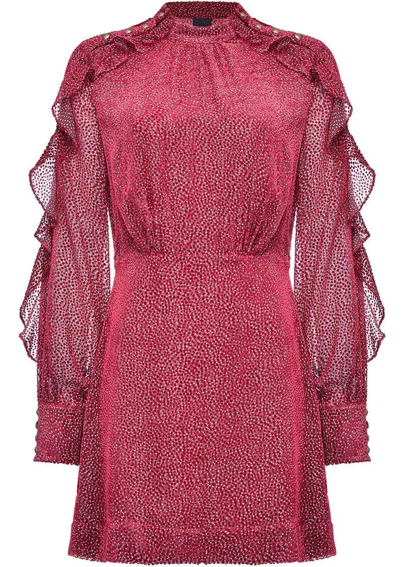 Pinko ruffled-sleeve dot-pattern dress