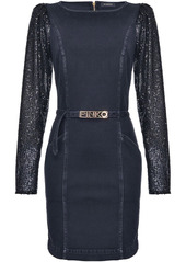 Pinko sequin-sleeve belted dress
