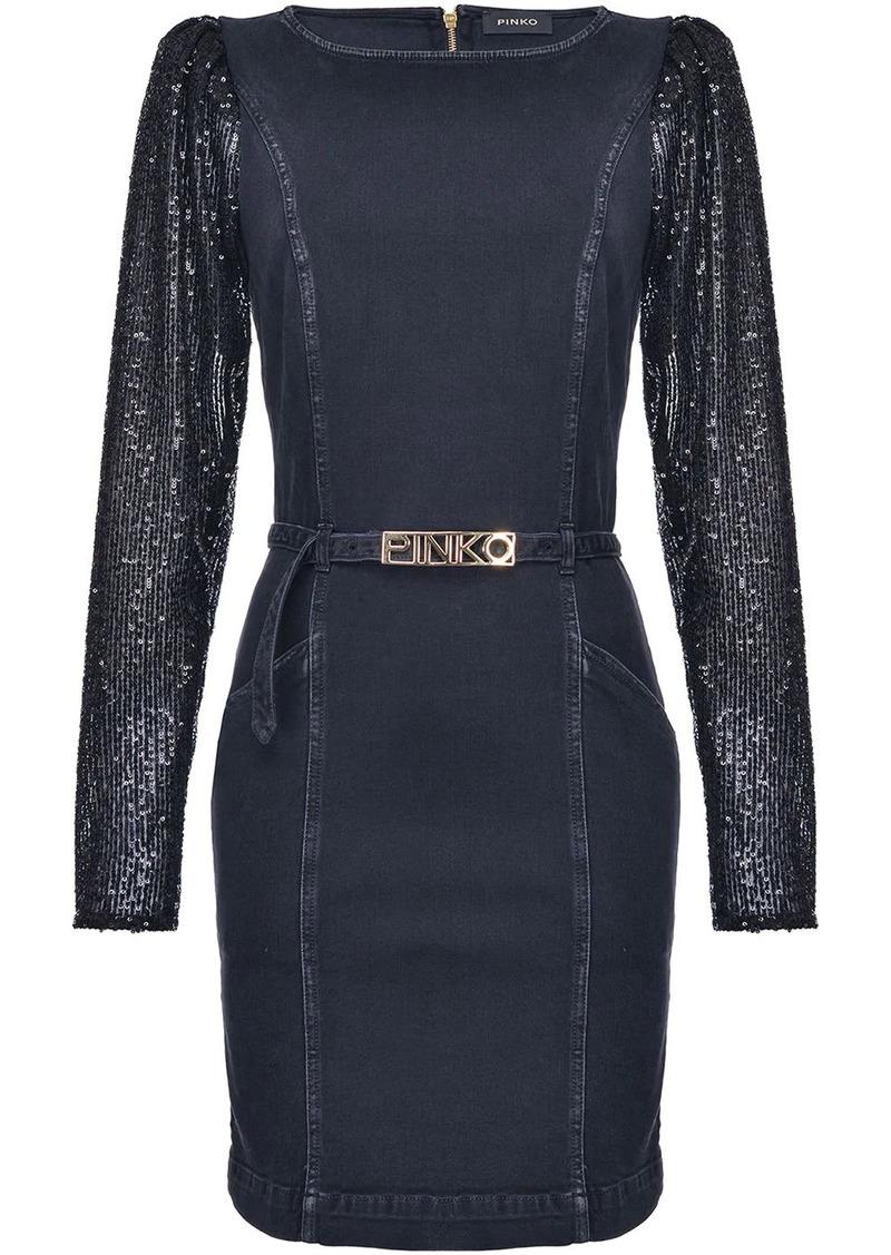 Pinko sequin-sleeve belted dress