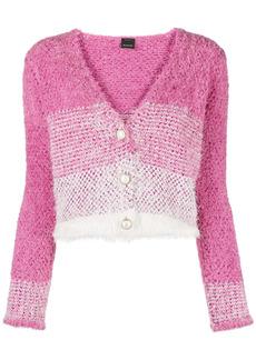 Pinko striped faux-fur cardigan