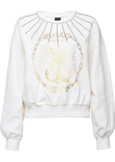 Pinko stud embellished logo print sweatshirt