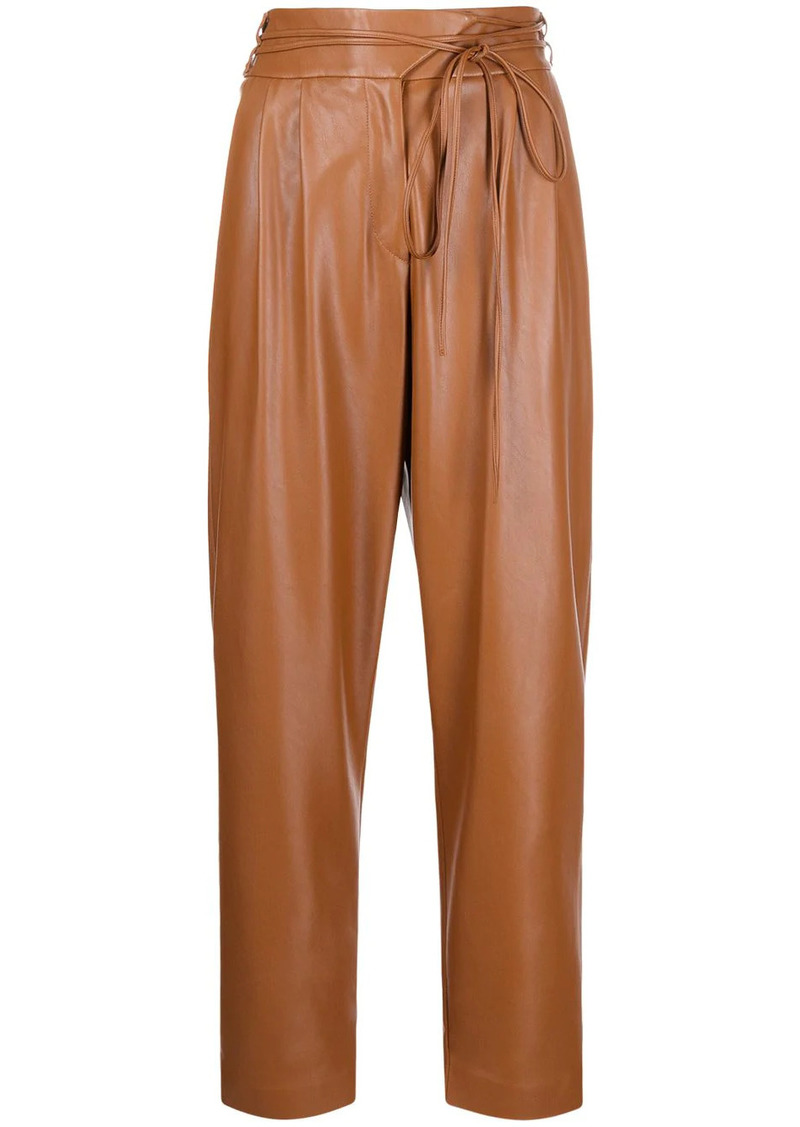Pinko tapered faux-leather trousers