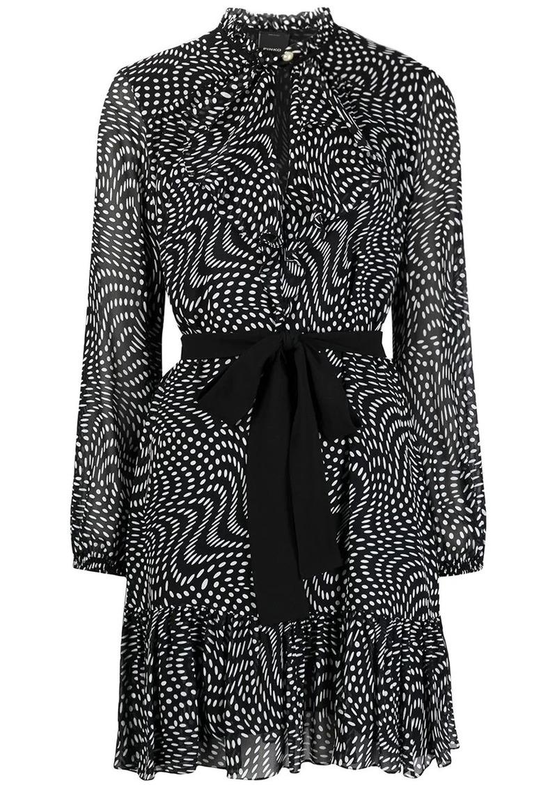Pinko tied-waist polka dot-print short dress