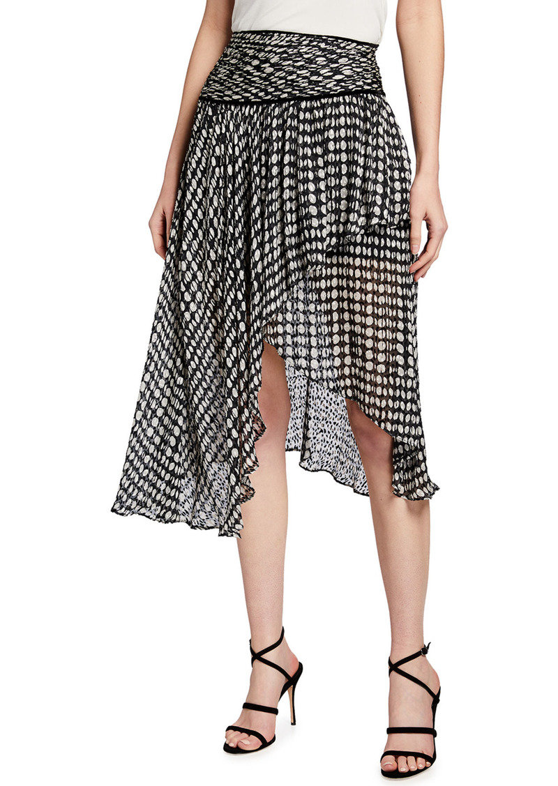 Pinko Tiered Asymmetric Dot-Print Skirt