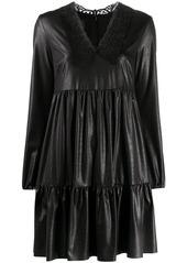 Pinko tiered lace-neckline dress