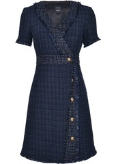 Pinko tweed style embossed button detail shift dress