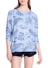 PJ Salvage Peachy Print Crewneck Pajama Top