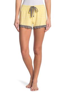 PJ Salvage Stripe Lace Trim Drawstring Sleep Shorts