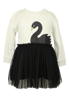 Popatu Black Swan Long Sleeve Tulle Dress (Baby)