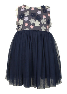 Popatu Floral Appliqué Tulle Dress (Baby)