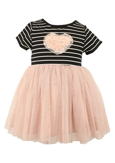 Popatu Stripe Floral Heart Appliqué Tulle Dress (Baby)