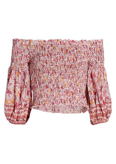 Poupette St Barth Ariel Spotted Floral Smocked Puff-Sleeve Top