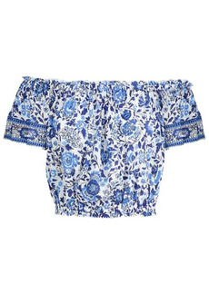 Poupette St Barth Camila sequined floral crop top