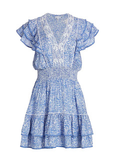 Poupette St Barth Camilia Ruffle Paisley Mini A-Line Dress